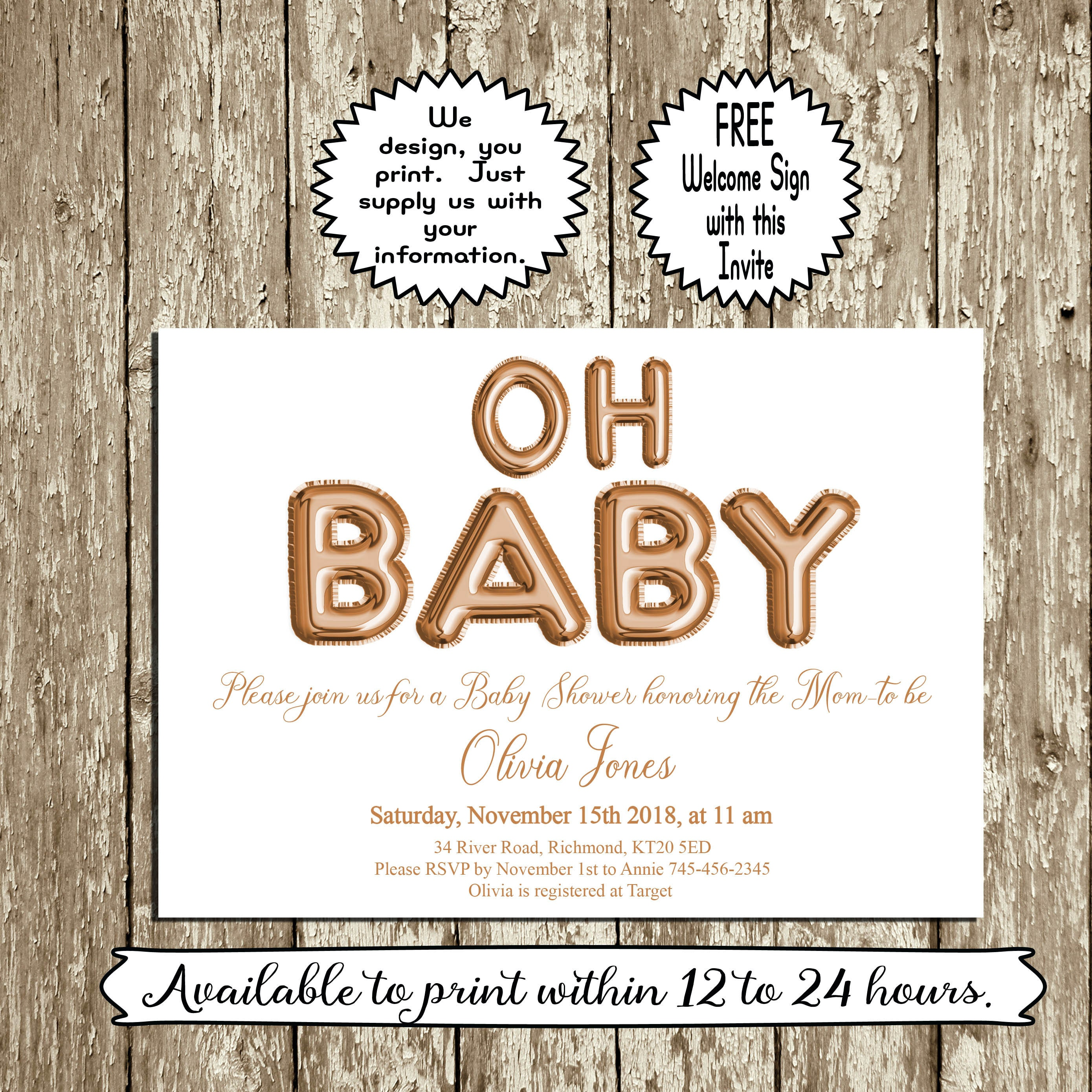 Rose Gold Baby Shower Invitation Printable Oh Baby Invitation