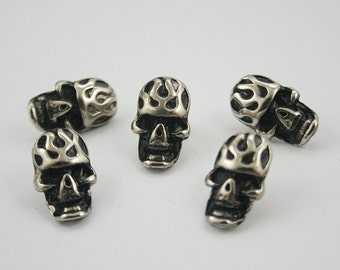 20 pcs. Zinc Silver Tone Fire Skull Rivet Stud Conchos Leathercraft Decoration 12x20 mm. SK N 1220 3 K