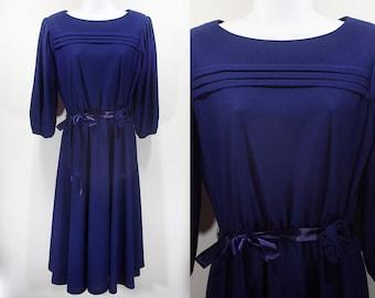 10 Dollar Sale---Vintage 80's SIGNOR CALIFORNIA Navy Blue Dress M