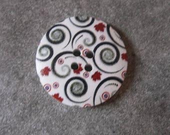 wood button, decor flowers 30mm