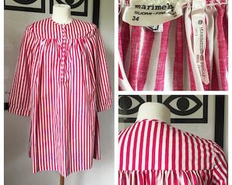 Vintage Marimekko Dress / Striped Fuccia and White/ Size 34 XSmall - Small / 1973 Finland