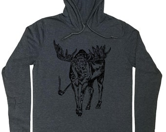 Mens Hoodies - Pipe Smoker Gift - Pipe Smoker T Shirt - Moose Shirt - Nature Lover Gift - Pipe Smoker Hoodie - Hoodie for Men - Grey Hoodies