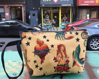 """Cotton Tattoo Print Wristlet, Sailor Jerry 7"""" Clutch Purse,  Pouch, Cosmetic Make Up Bag."""