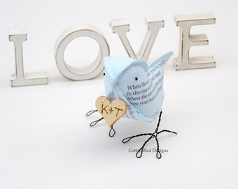 2yr Anniversary COTTON Fabric Bird - THE ONE -  Personalized Second Wedding Anniversary Wedding Anniversary Birds  by Cotton Bird Designs