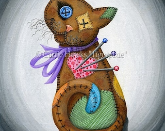 Voodoo Cat Doll Patchwork Cat Pin Cushion Cat Doll Button Eyes Rag Doll Art Limited Edition Canvas Print 11x14 Cat Lovers Art