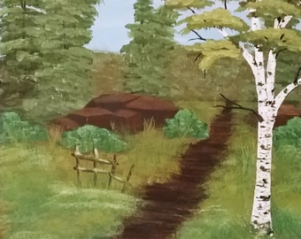 Birch path, Path in the woods, rugged road, rocky road, Forest Landscape, Birch Painting, Birch Forest, Birch Trees