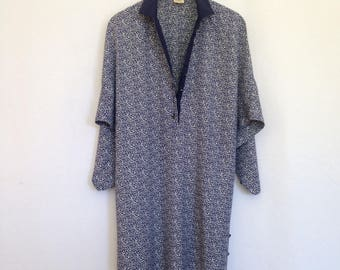 1980s blue/white print dolman sleeve dress, sz 42 - made in ITALY