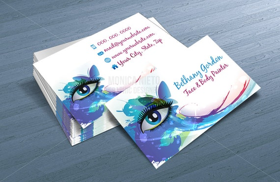 Custom Printable Face Painter Business Card Template Makeup - Painter business card template