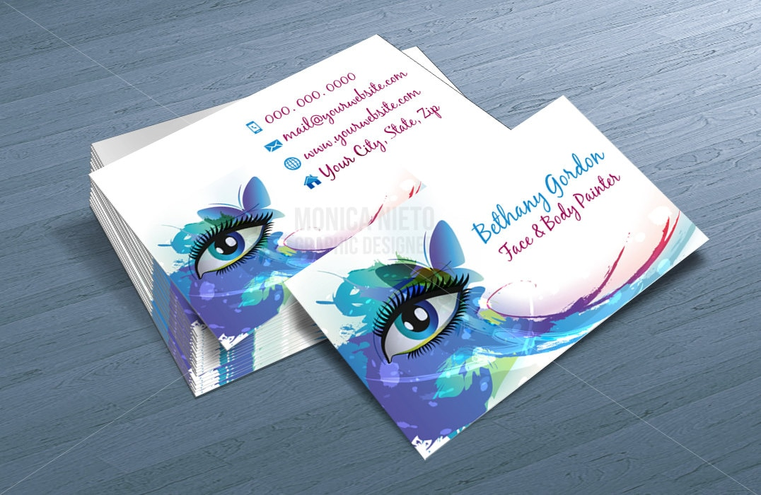 Custom Printable Face Painter Business Card Template/ Makeup