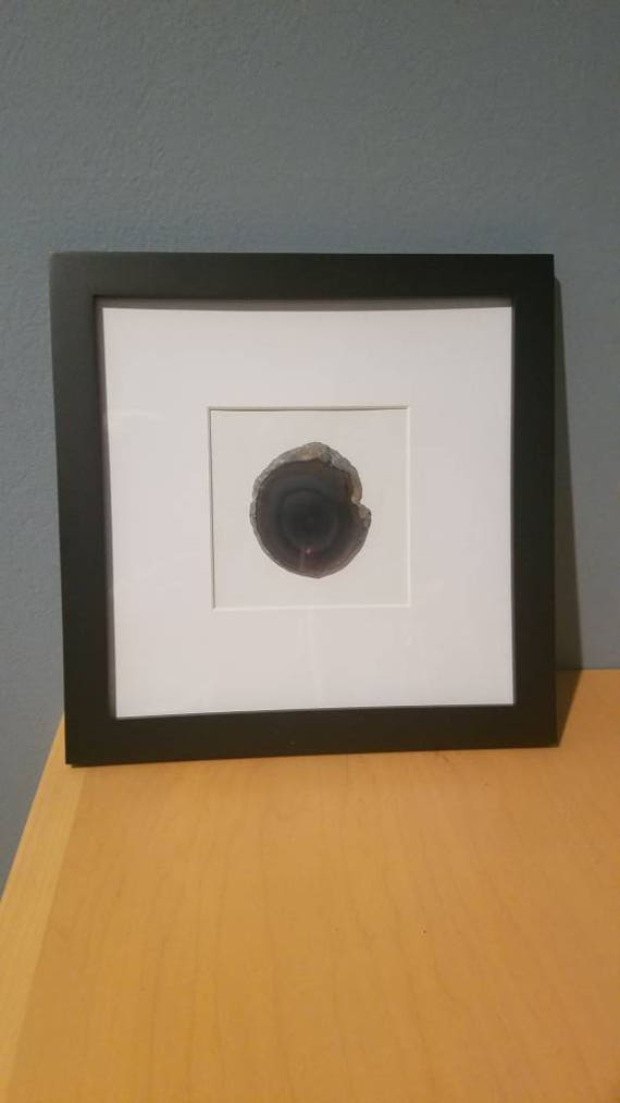Geode art, matted and framed wall decor, various colors, 8x10 or 8x8