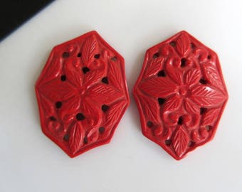 2 Pieces Matched Pair Coral Jewelry Carvings, Hand Carved Filigree Findings, Gemstone Carving, 39x28x4mm, GDS859