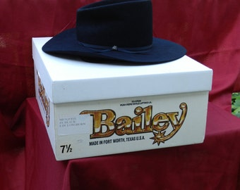 Vintage Bailey Cowboy Hat Mesquite 4X Black in Box             00312