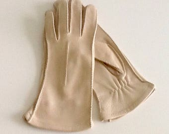 Cream leather gloves, natural deerskin and stretch fabric, vintage 60's, small size, 6 1/2 to 7, unlined