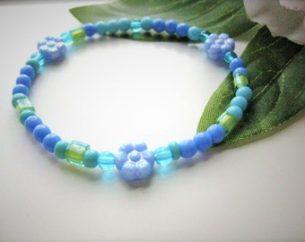 Girls Bracelet, Blue and Green with Blue Flowers, Large, GBL 166