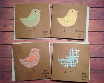 Homemade cards, Greeting cards, set of 4, cards with birds, mini card set, variety pack, cute cards, handmade cards