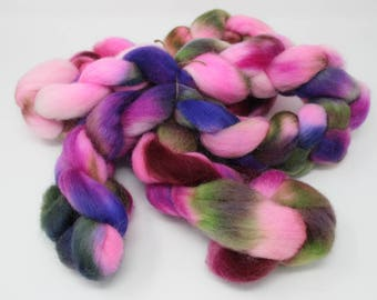 Pink, Blue and Green Wild Wind Farm Roving 8 oz Handpainted