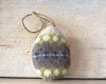 Ivory with Chartreuse, Gray and Aqua Fair Isle Easter Egg Ornament // Easter Egg Tree Ornament // Easter Decoration