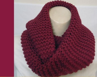 Wine Infinity scarf Loop Circle Plum Cowl scarf chunky made knit stripe Rose fig Acrylic Wool Ready To SHIP Christmas gift sale