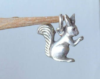 Vintage Sterling Silver Squirrel charm Small Squirrel charm, Squirrel Charm 830  Squirrel, Retro 60's Jewelry, Silver Minimalist Charm