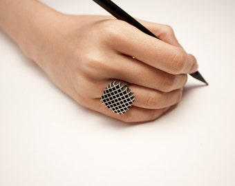 Silver Ring / Silver Jewelry /  Colored  / 925 Sterling Silver /  Square Waffle Ring / Handmade / Made to Order /  SWR1302
