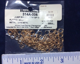 Gold plated  Jump Rings 6mm