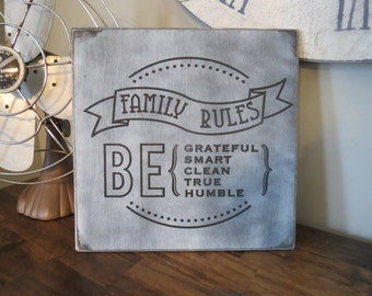 "Family Rules Be Grateful Smart Clean True Humble Wood Sign, 12"" x 12"", Home Decor, Wall Hanging, Farmhouse Wall Decor"