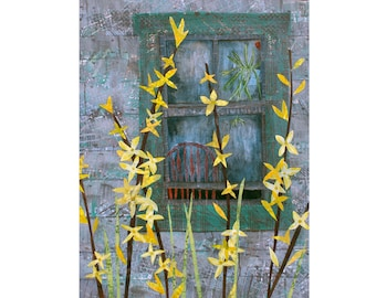 "Forsythia. 5"" x 7"" Blank Greeting Cards (Set of 6). Print of Original Layered Paper Collage. Stationery Art Card. Print-to-Order."