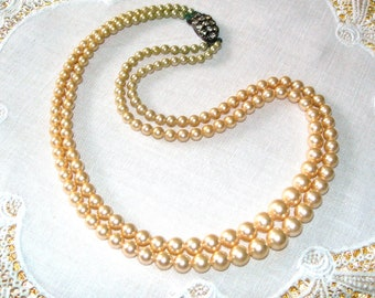 Art Deco pearl necklace, cream colour, vintage, two strands,made in England