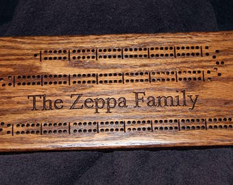 Custom cribbage board personalized with names. Made from solid oak wood. Gift for him, gift for her with superior craftsmanship