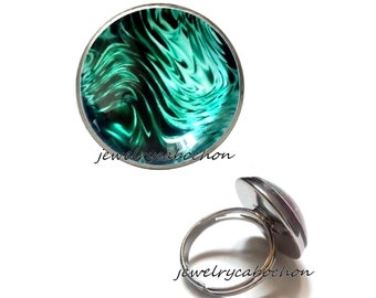 Ring turquoise wave silver color