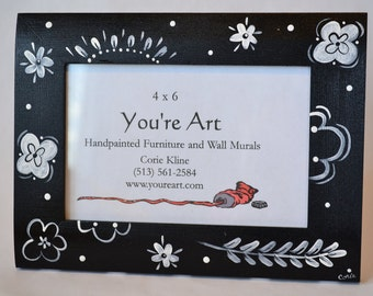 Hand Painted Black and White Floral Frame