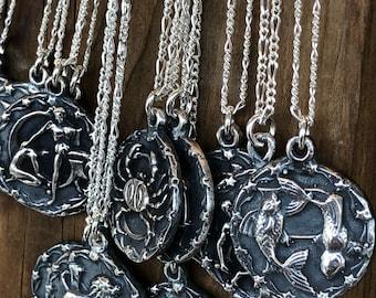 Zodiac sign necklace vintage wax cast