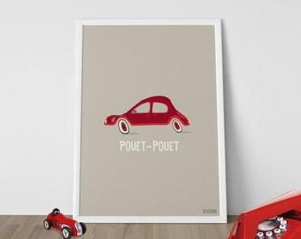 "POSTER ART * Illustration of a red vintage car ""Pouet Pouet"" by SEVEUSMZ."