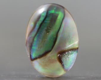 Abalone Cabochon Doublet in Glass Iridescent Chatoyant Organic Sea Cabochon (V967)