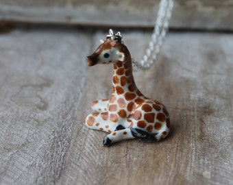 Giraffe hand painted ceramic necklace