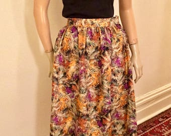 Novely feather print gathered skirt