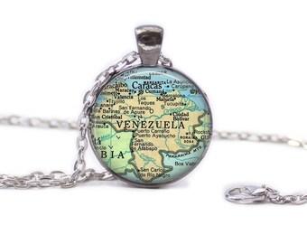 Map of Venezuela  Necklace Map Jewelry Travel Necklace Venezuela Jewelry Venezuela Keychain Map of Venezuela