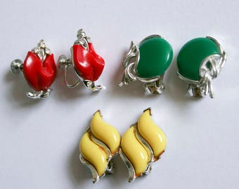 Red Yellow Green Lucite Lisner Mid Century Earrings