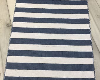 Scandinavian rug,   blue rug, runner rug, woven rug, kitchen rug,  cotton rug, Swedish rug, Swedish rag rug, washable rug, modern rug