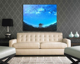 Fisheye Abstract Sky Painting Oil painting abstract Atmospheric Blue wall art Dark Sky Night Landscape Vivid picture Bright blue sky