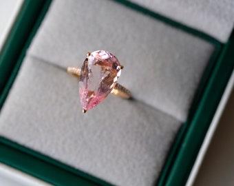 5.6 Carat Morganite Engagement Ring Pink Stone Engagement Ring Pink Stone Ring Morganite Ring White Gold Ring Diamond Ring Pear Morganite