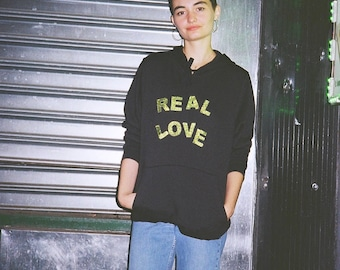 Real Love Hoodie Black with Green Sparkly