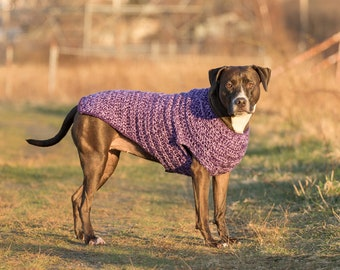 Purple Crochet Dog Sweater for Large, Extra Large and Extra Extra Large Breed Pets | Dog Coat Pet Clothes Pet Sweater