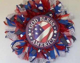 July 4th Wreath, God Bless America Wreath, Stars and Stripes Deco Mesh Wreath, Patriotic Wreath, USA Wreath, Red White Blue Wreath