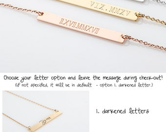 Personalize Roman Numeral Date Necklace, Long Sinny Name Bar Necklace, Custom Name Plate Necklace, Gold Bar Necklace, wedding Date Necklace