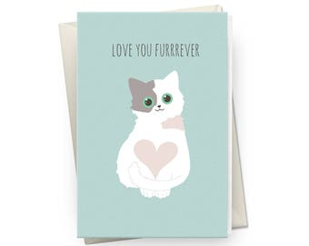 Love You Greeting Card, Cat Greeting Card,  Kitty Greeting Card, Cat Lovers Greeting Card, Cute Cat Greeting, Funny Card