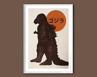 Movie poster Godzilla retro print in various sizes
