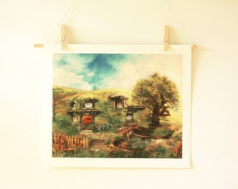 Hobbit House Fantasy Landscape Illustration | The Shire 11x14 Fantasy Art Archive Quality Giclée Print Unframed Made to Order