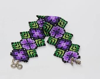 Peyote Flower Bracelet, Beaded Bracelet, Huichol Bracelet, Seed Bead Bracelet, Beaded Cuff Bracelet