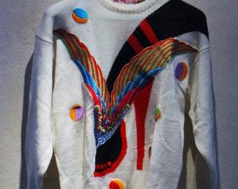 Rare Vintage 80s Kansai Yamamoto White Embroidery Shoe Knit Sweater Made in Japan Size M UK 12 EU 38